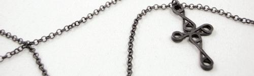 Noir Sterling Silver Blackened Cross Necklace Pendant